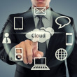 Business man pointing at cloud computing — Stock Photo
