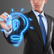 Business man drawing idea light bulb — Stock Photo #32873871