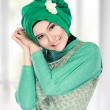 Happy beautiful muslim woman smiling — Stok fotoğraf