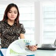 Beautiful businesswoman working at her office — Stock Photo