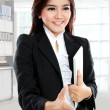 Picture of businesswoman with an open hand ready for handshake — Stock Photo