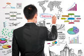 Businessman drawing modern business concept — Stock Photo