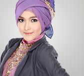 Portrait of beautiful woman wearing hijab — Stock Photo