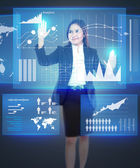 Businesswoman working with touch screen — Stock Photo