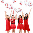 Happy funny beautiful women with boxes. Christmas. Party. — Stock Photo
