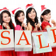Picture of beautiful four asian women in red dress with shopping — Stock Photo