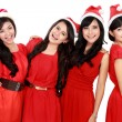Happy young four asian woman with christmas santa hat — Foto Stock