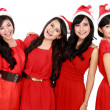 Happy young four asian woman with christmas santa hat — Foto de Stock