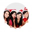 Four asian women with christmas santa hat in circle — Stock Photo #34928727