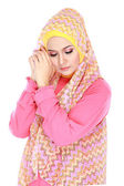 Fashion portrait of young beautiful muslim woman with pink costu — Stockfoto