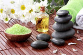 Zen basalt stones and spa products — Stock Photo