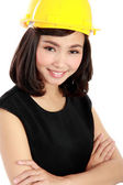 Cheerful female construction engineer — Stock Photo