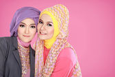 Portrait of two beautiful muslim woman together — Stock Photo