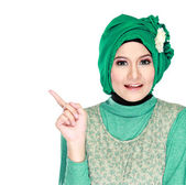 Young moslem woman pointing — Foto Stock
