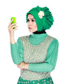 Confuse or shocked expression while looking to mobile phone — Stock Photo
