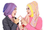 Two beautiful moslem woman having fun together — Photo