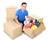 Moving day. man with cardboard box — Stock Photo