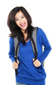 Attractive young happy student with bag — Foto de Stock