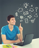 College student Thinking looking up. concept of multimedia techn — Stock Photo