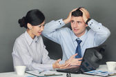 Sad and depressed businessman and woman  — Stock Photo