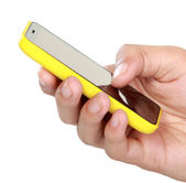 Hand holding mobile smart phone with blank screen — Stock Photo