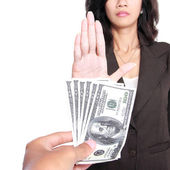 Conceptual image of hand give money for corruption — Stock Photo
