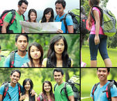 Collage photo of hiking people — Stockfoto
