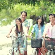 Friends having fun riding bicycle together — Stock Photo #47190693