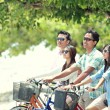 Friends having fun riding bicycle together — Stock Photo #47190857