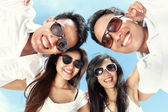 Group of happy young people have fun on summer day — Stock Photo
