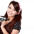 Woman with vintage camera — Stock Photo #47213395