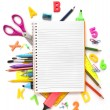 Notebook with stationary objects — Stock Photo #48857127