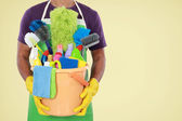 Portrait of man with cleaning equipment — Stock Photo