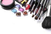 Various cosmetics isolated over white — Stock Photo