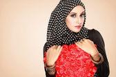 Beautiful woman with black scarf — Stock Photo