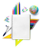 Notebook with stationary objects — Stock Photo