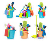 Cleaning supplies isolated on white background — Stock Photo