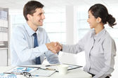 Interviewer shaking hand to future employee — Stock Photo