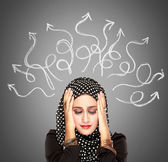 Muslim woman stressed having so many thoughts — Stock Photo