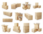 Set of cardboard boxes pile — Stock Photo