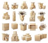 Set of cardboard boxes pile — ストック写真