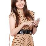 Rero asian woman smiling using cellphone — Stock Photo #51269185