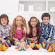 Children with colorful socks — Stock Photo #17489785