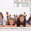 Children with colorful socks — Stock Photo #17490229