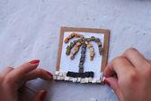 Making a stone mosaic — Stock Photo