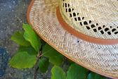 Straw hat with green leaves — Stock Photo