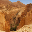 Golden mountains of the Chebika oasis in Tunisia - Stock Photo
