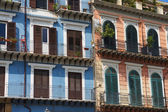 Pink and blue facades — Stock Photo