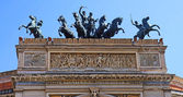 Sculptures on the Teatro Politeama of Palermo in Sicily — Stock Photo