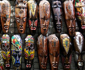 Wooden african masks — Stock Photo